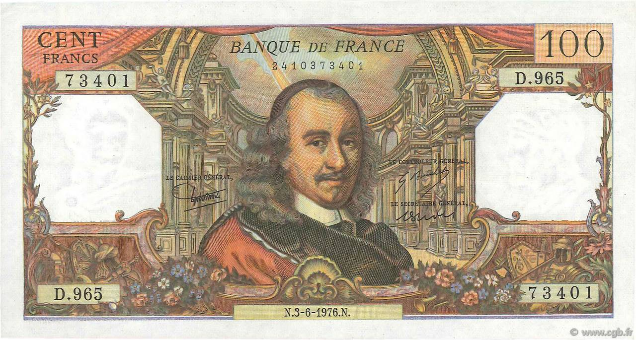100 Francs CORNEILLE FRANCE  1976 F.65.53 SUP