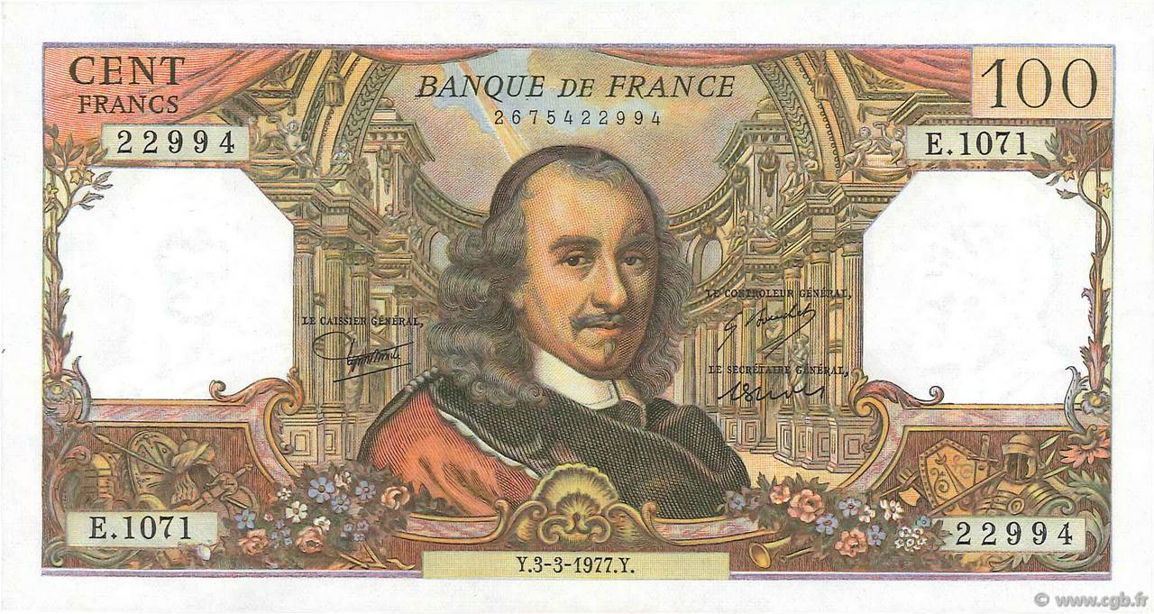 100 Francs CORNEILLE FRANCE  1977 F.65.57 pr.SPL
