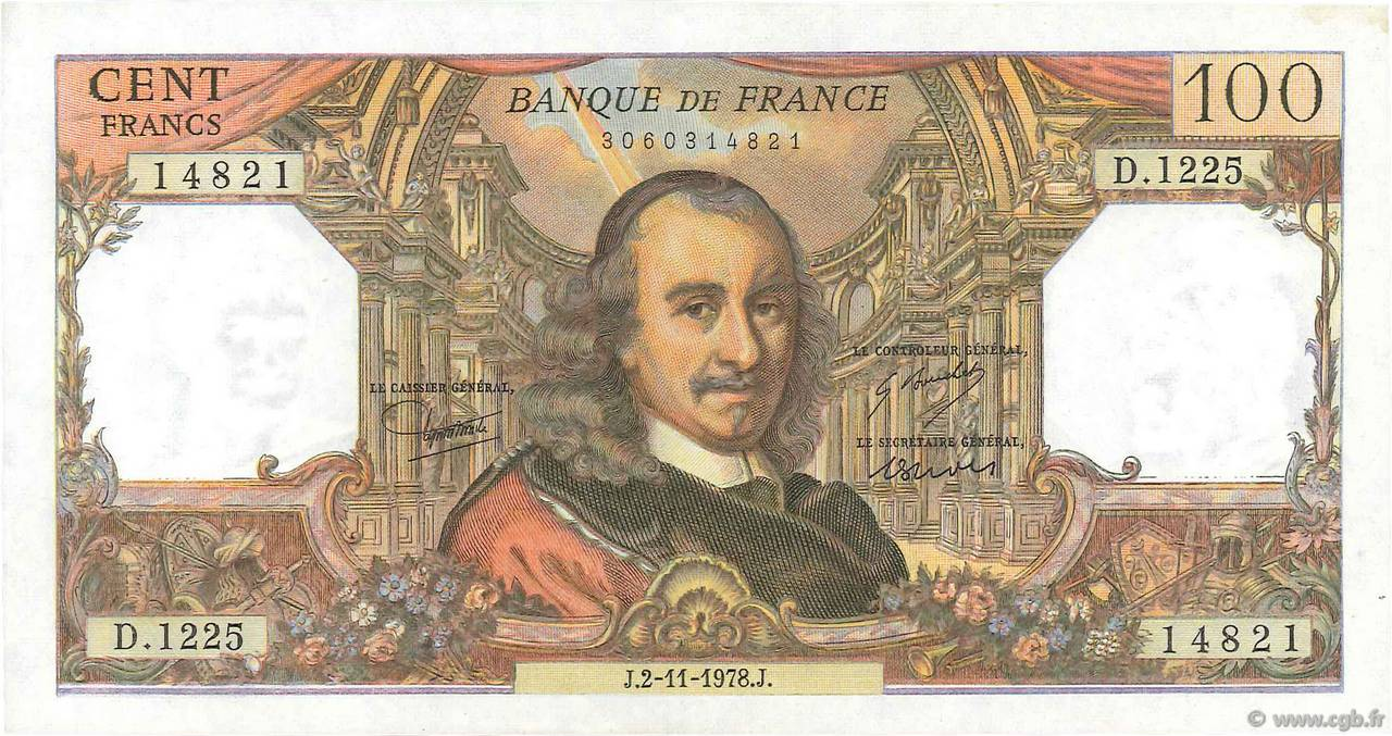 100 Francs CORNEILLE FRANCE  1978 F.65.64 SPL