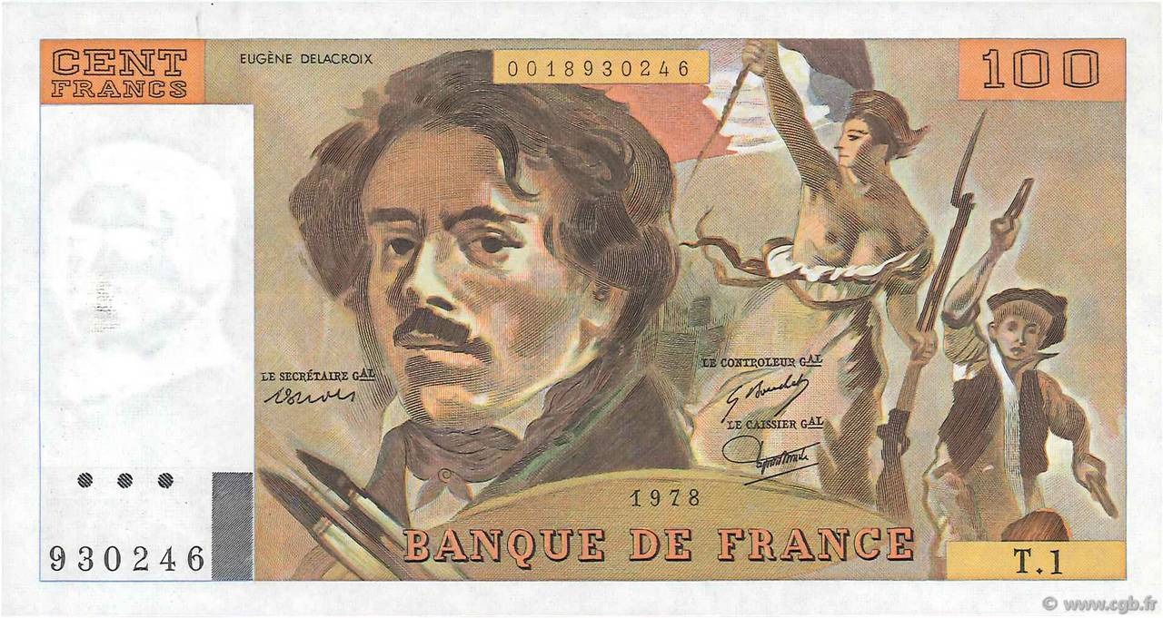 100 Francs DELACROIX FRANCE  1978 F.68.01 SUP
