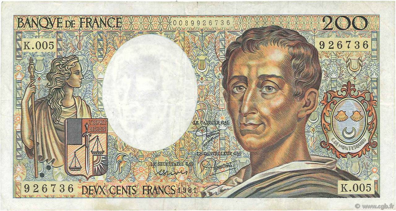 200 Francs MONTESQUIEU FRANCE  1981 F.70.01 pr.TTB
