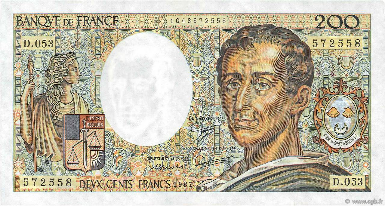 200 Francs MONTESQUIEU FRANCE  1987 F.70.07 SUP