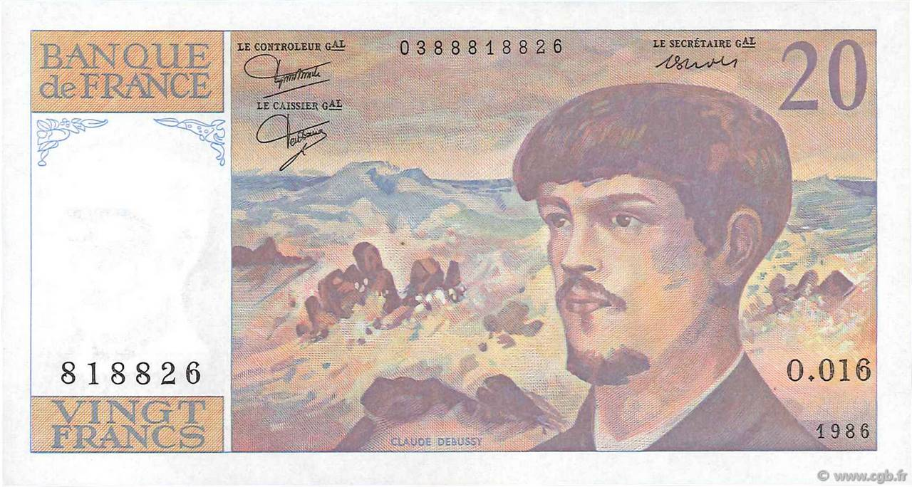20 Francs DEBUSSY FRANCE  1986 F.66.07 SPL