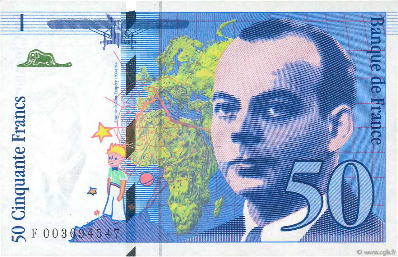 50 Francs SAINT-EXUPÉRY FRANCE  1992 F.72.01b SUP