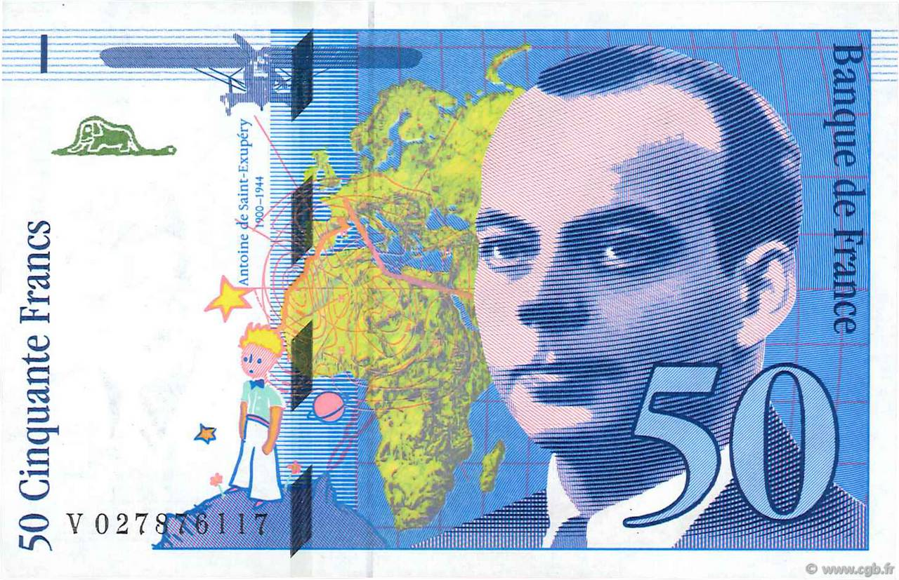 50 Francs SAINT-EXUPÉRY Modifié FRANCE  1994 F.73.01d SPL