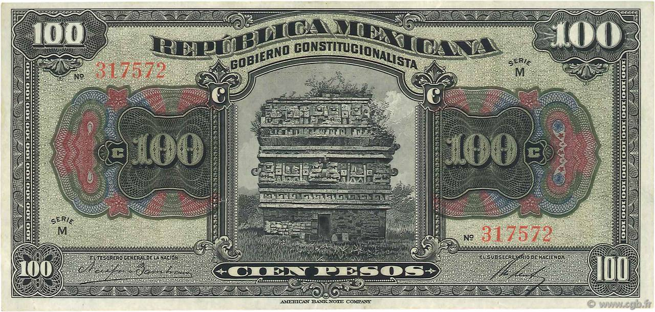 100 Pesos MEXIQUE  1915 PS.0689a TTB+
