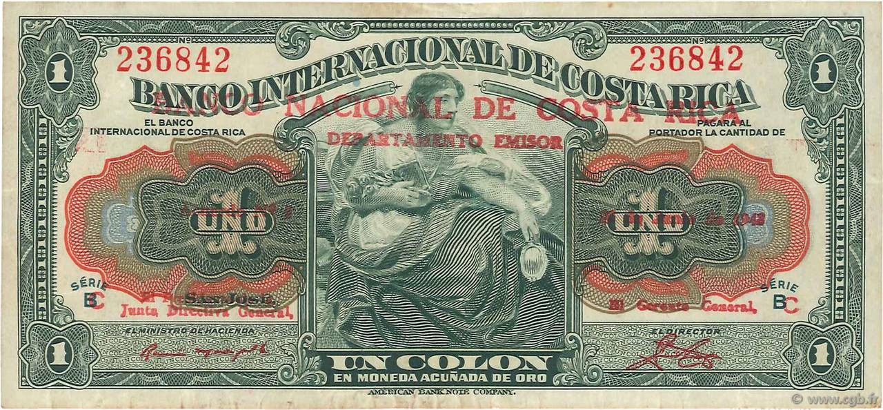 1 Colon COSTA RICA  1943 P.190 TTB