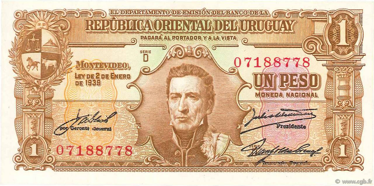 URUGUAY 1 PESO P35 b 1939 SHIP HORSE COW UNC TONE LATINO MONEY BILL BANK NOTE
