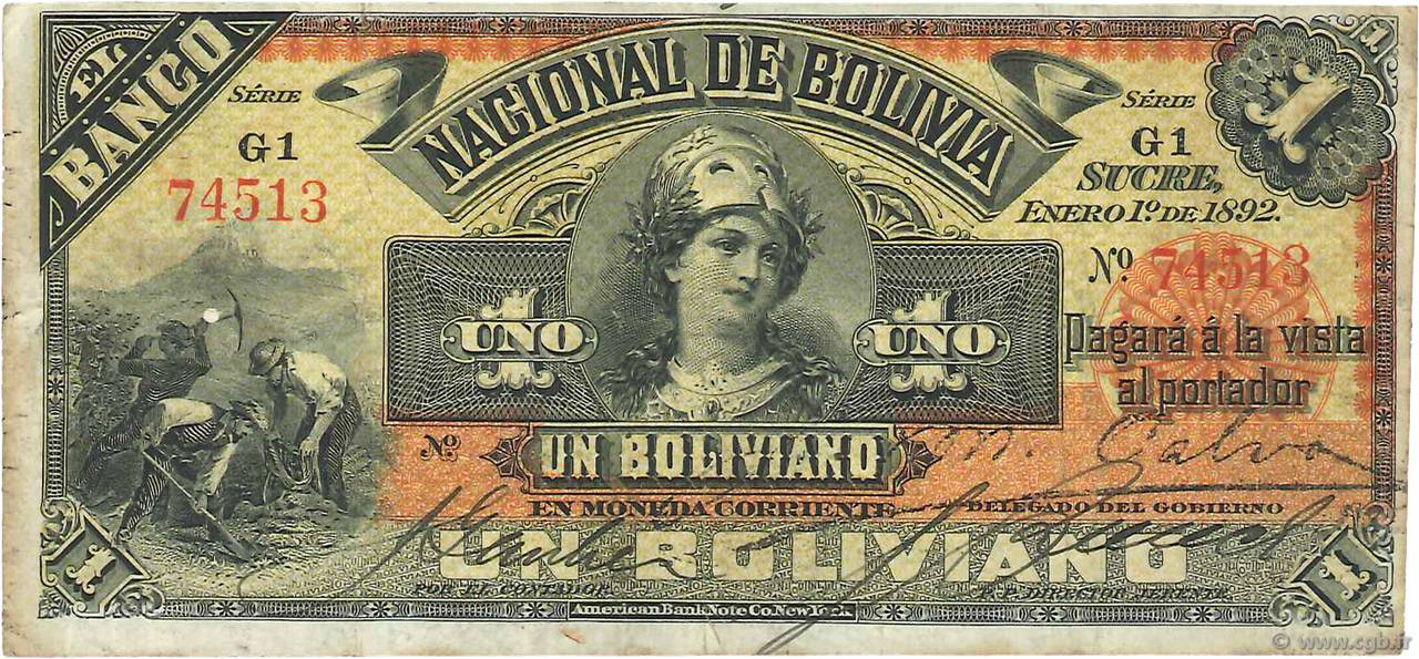 1 Boliviano BOLIVIE  1892 PS.211b TB+