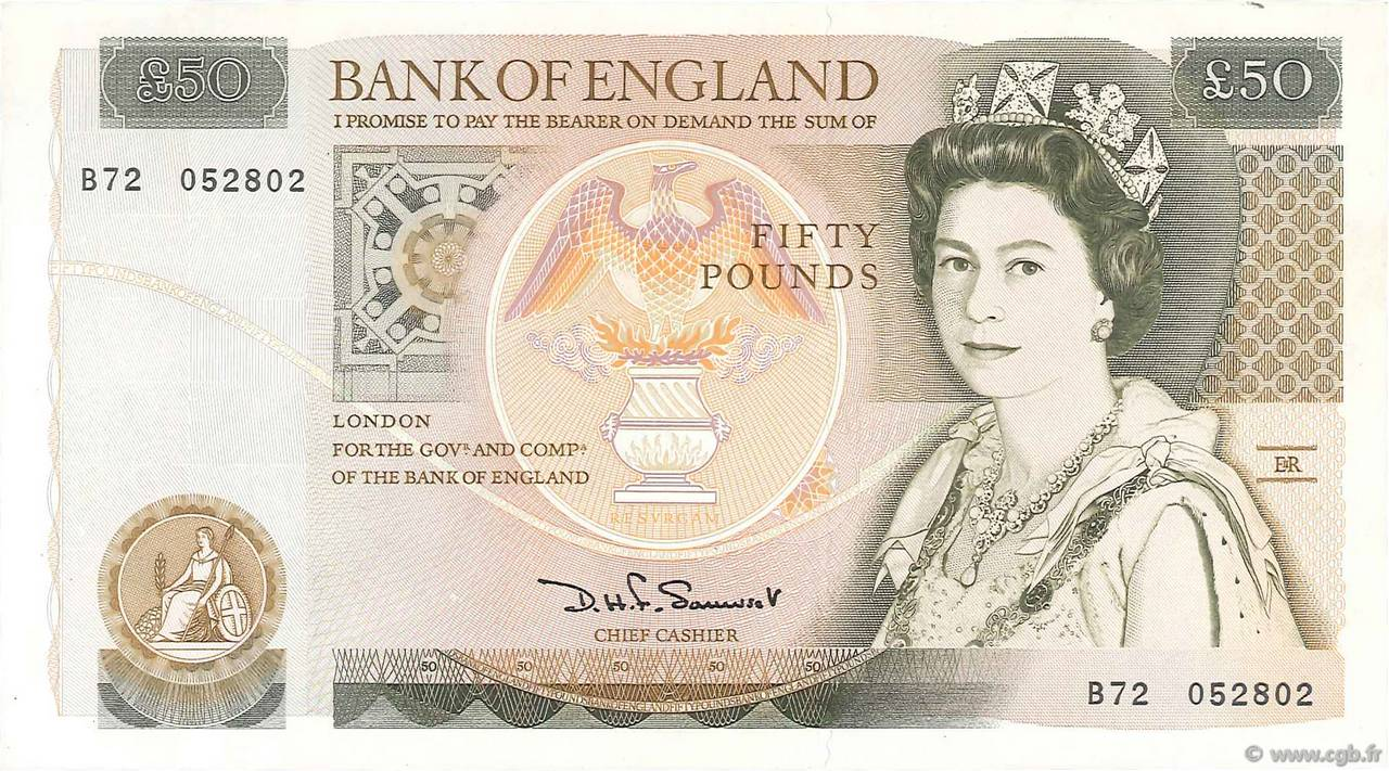 50 pounds england 1981 p 381a b75 0755 banknotes