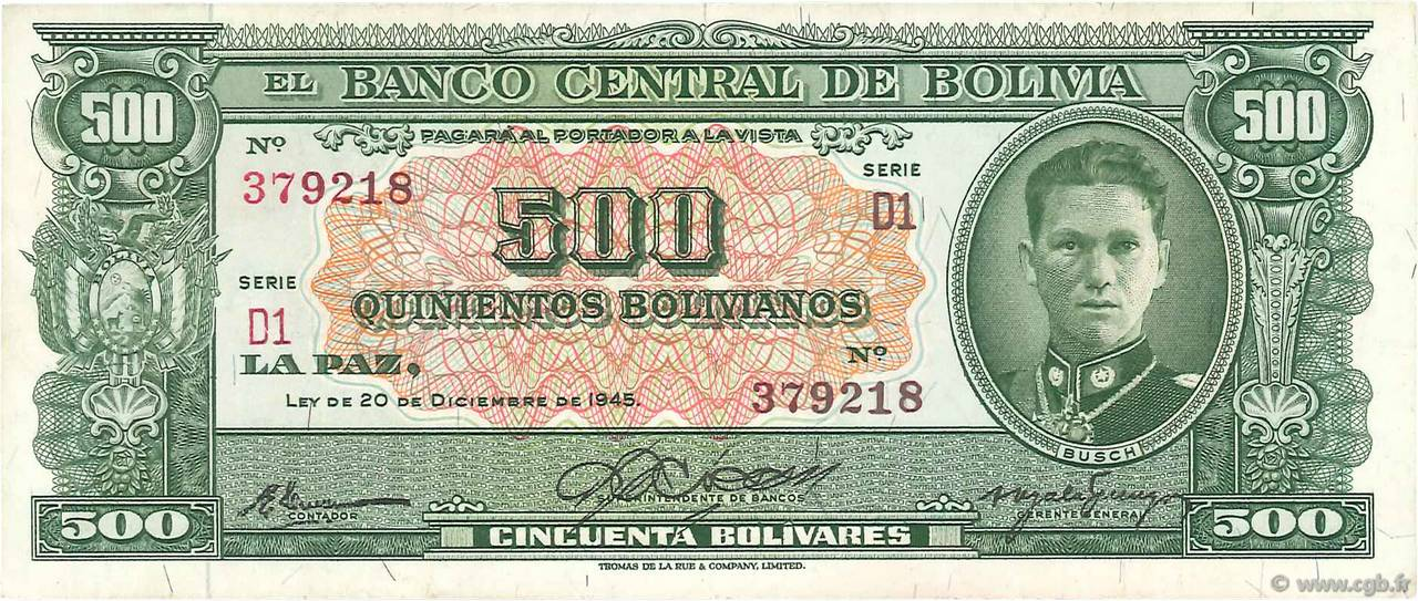 500 Bolivianos BOLIVIE  1945 P.148 SUP