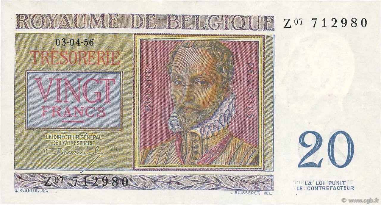 billet de banque 20 francs belge