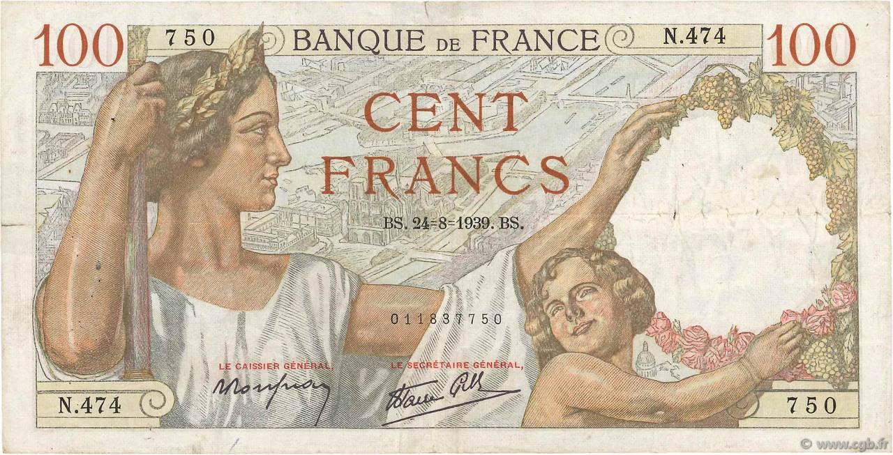 100 Francs SULLY FRANCE  1939 F.26.05 TB