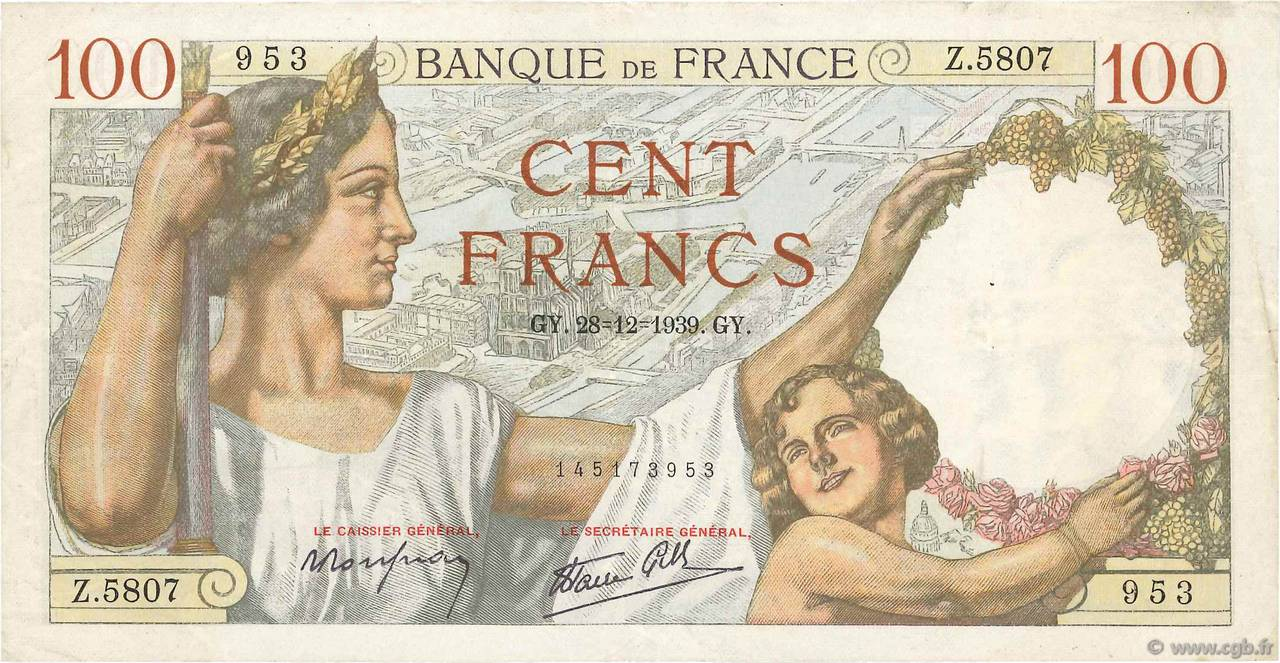 100 Francs SULLY FRANCE  1939 F.26.19 TTB