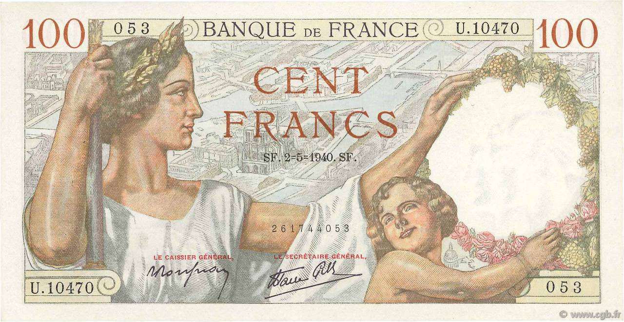 100 Francs SULLY FRANCE  1940 F.26.28 SUP+