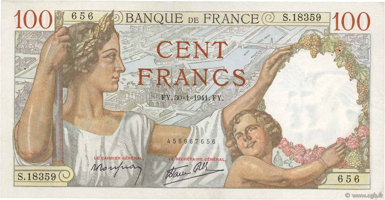 100 Francs SULLY FRANCE  1941 F.26.45 TTB+