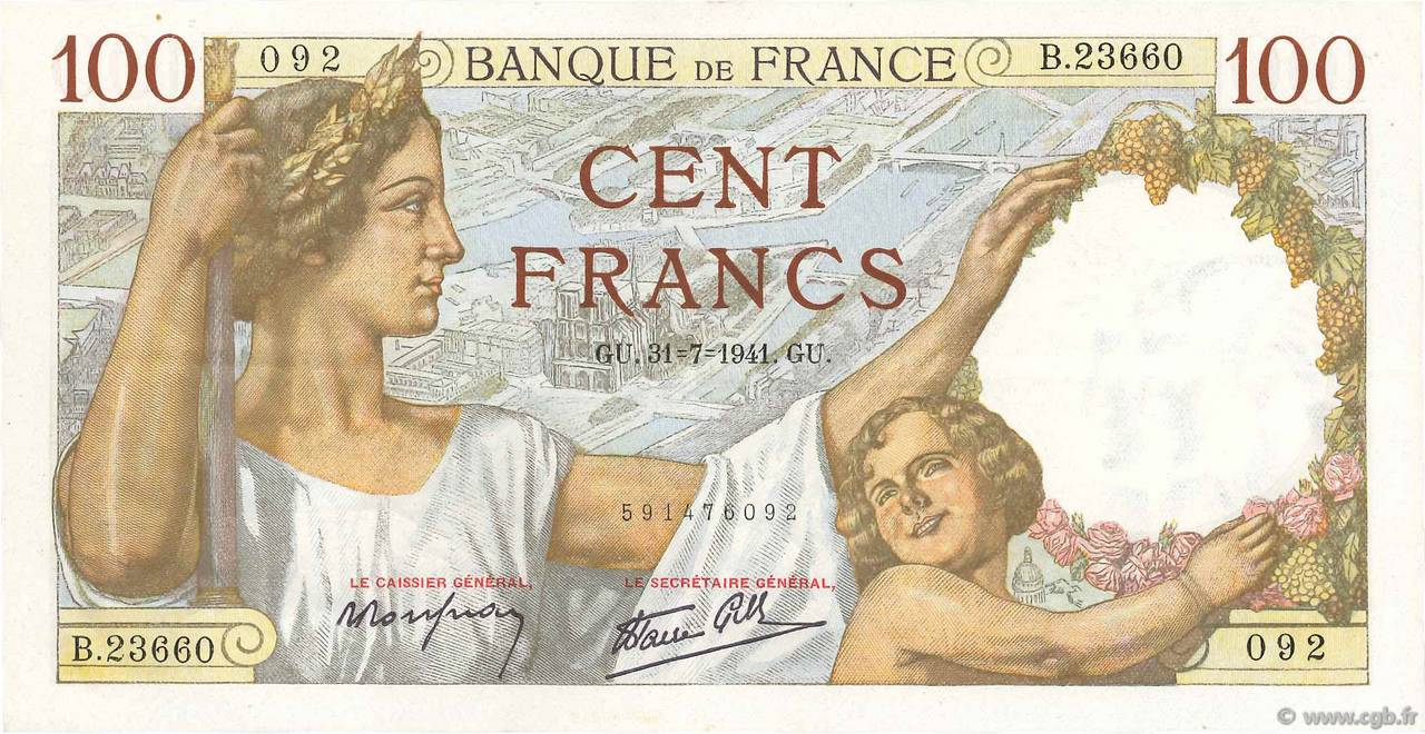 100 Francs SULLY FRANCE  1941 F.26.56 SUP+