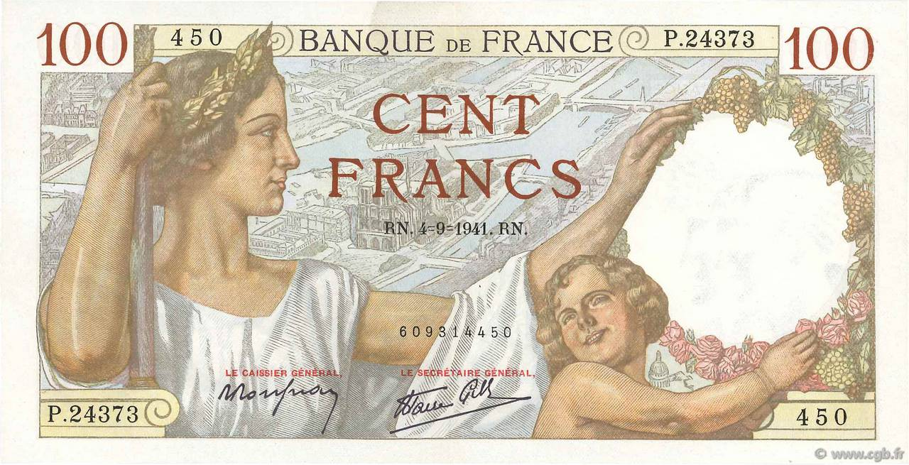 100 Francs SULLY FRANCE  1941 F.26.57 SUP