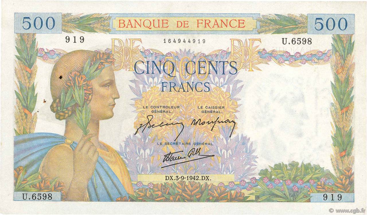 500 Francs LA PAIX FRANCE  1942 F.32.39 pr.SUP