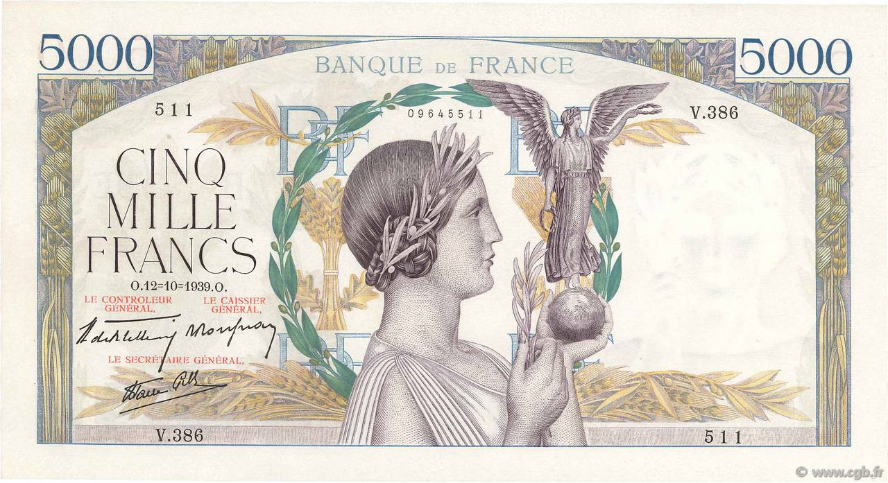 5000 Francs VICTOIRE Impression à plat FRANCE  1939 F.46.14 SUP