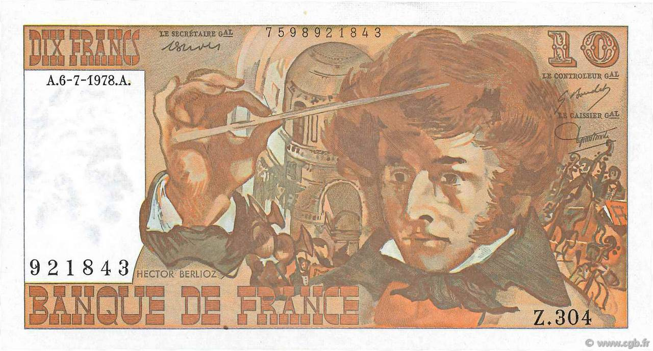 10 Francs BERLIOZ FRANCE  1978 F.63.24 SPL