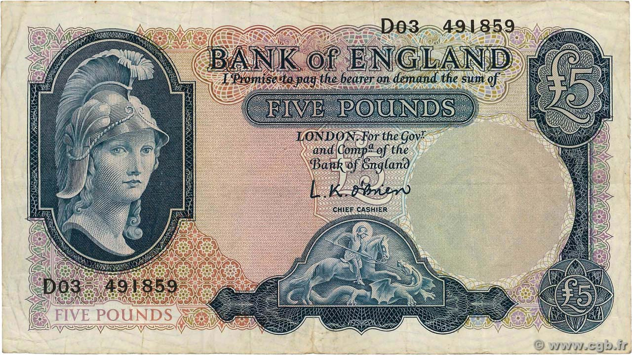 5 Pounds  ENGLAND  1967 P.371 F