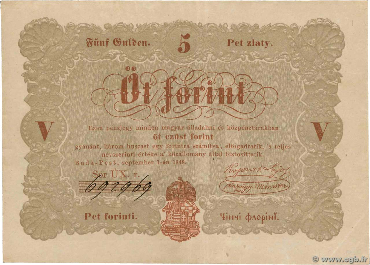 5 Forint HUNGARY  1848 PS.116b VF+