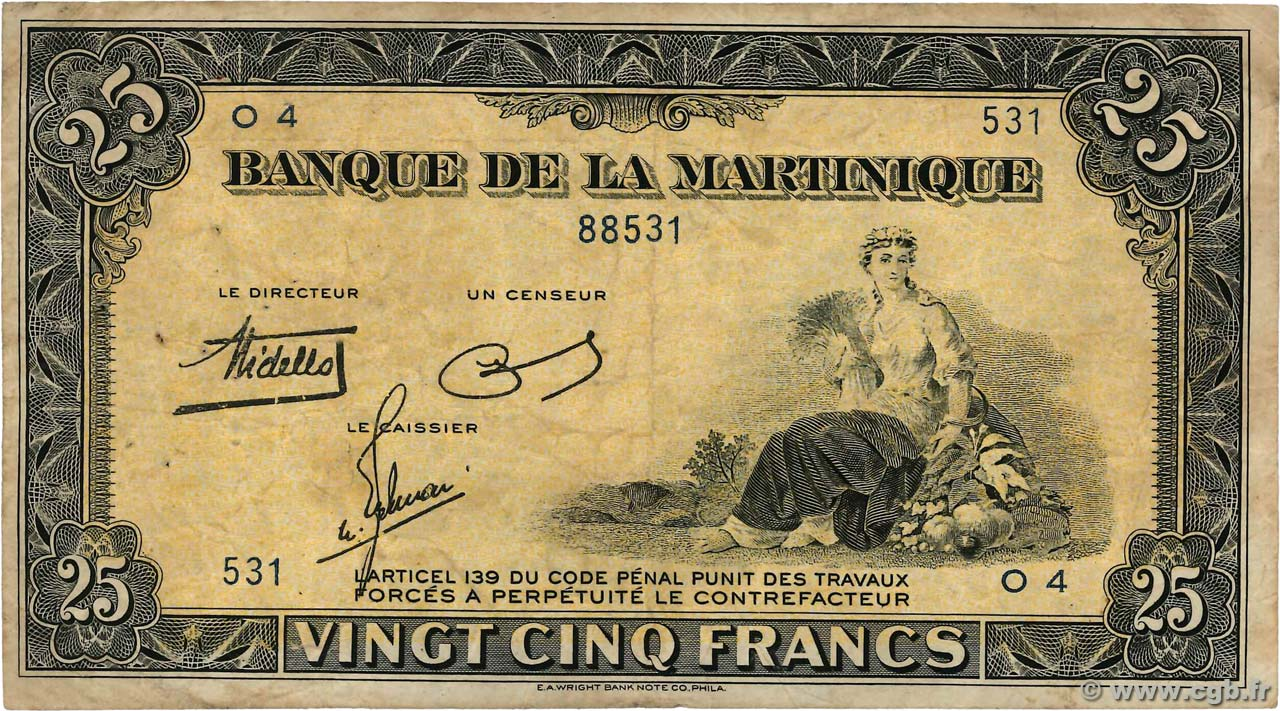 25 Francs MARTINIQUE  1943 P.17 pr.TB