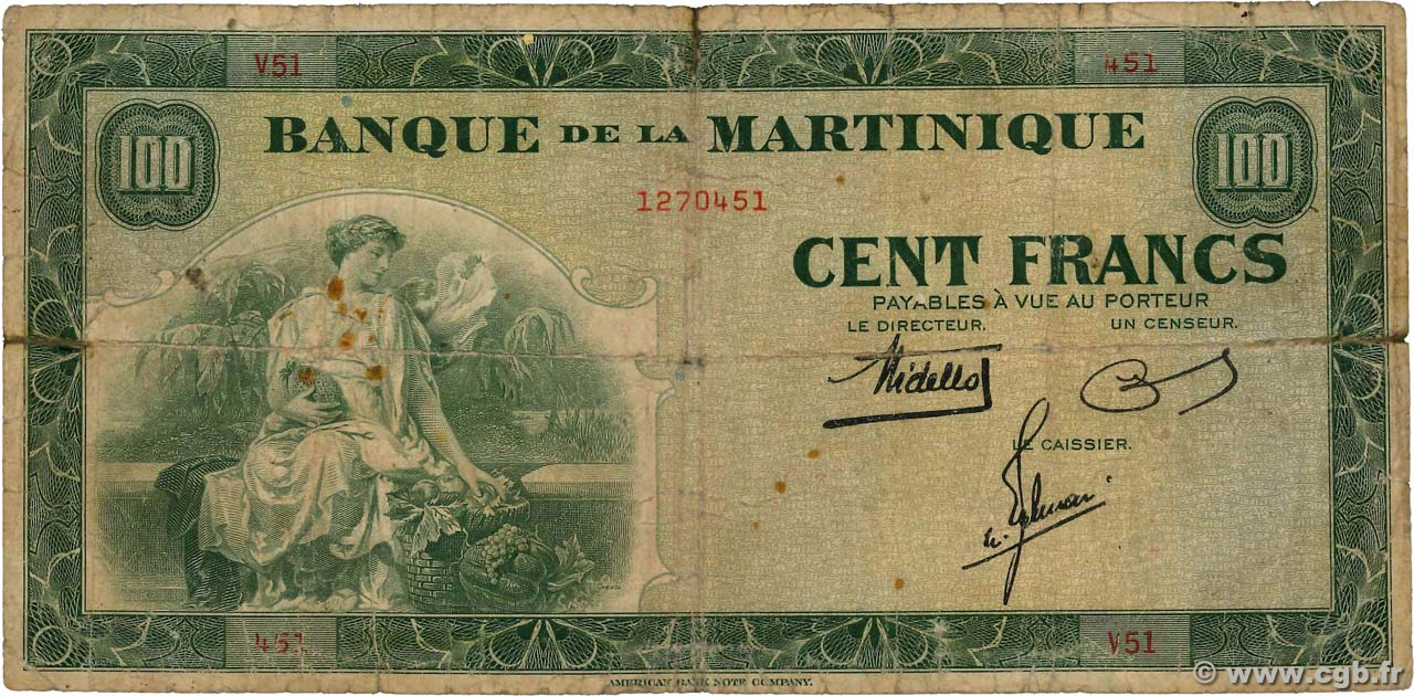 100 Francs  MARTINIQUE  1943 P.19a SGE