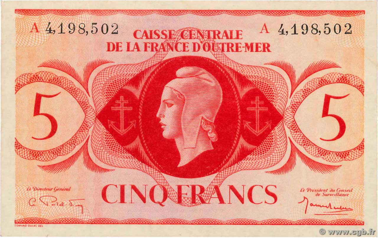 5 Francs FRENCH EQUATORIAL AFRICA  1943 P.15d XF+