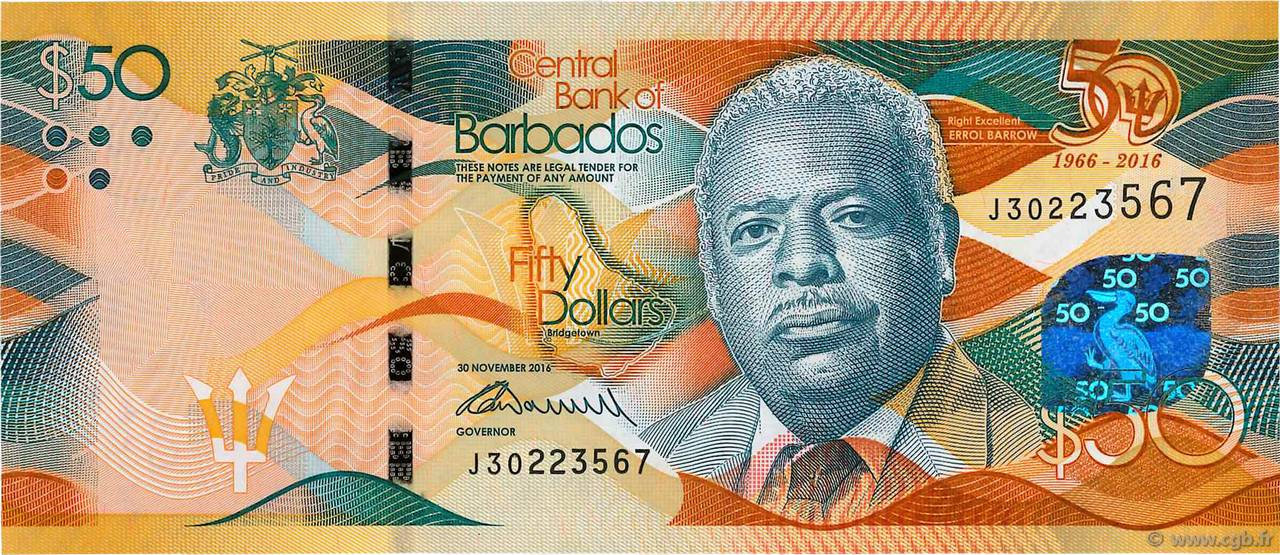50 Dollars BARBADOS  2016 P.79 ST