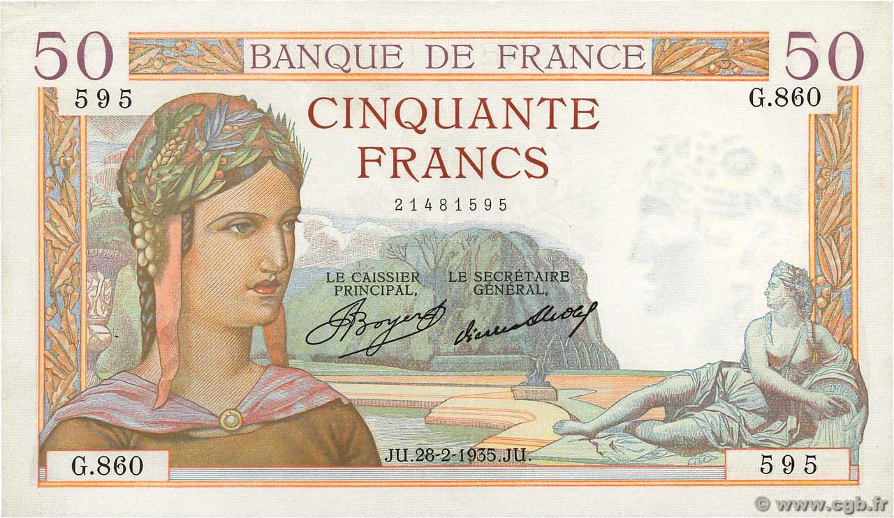 50 Francs CÉRÈS FRANCE  1935 F.17.05 SUP