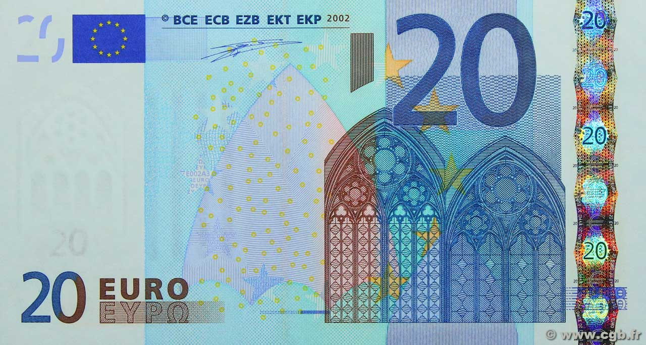 20 euro europa 2002 b79 1082 banknotes. Black Bedroom Furniture Sets. Home Design Ideas