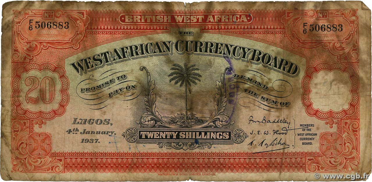 20 Shillings  AFRIQUE OCCIDENTALE BRITANNIQUE  1937 P.08b AB