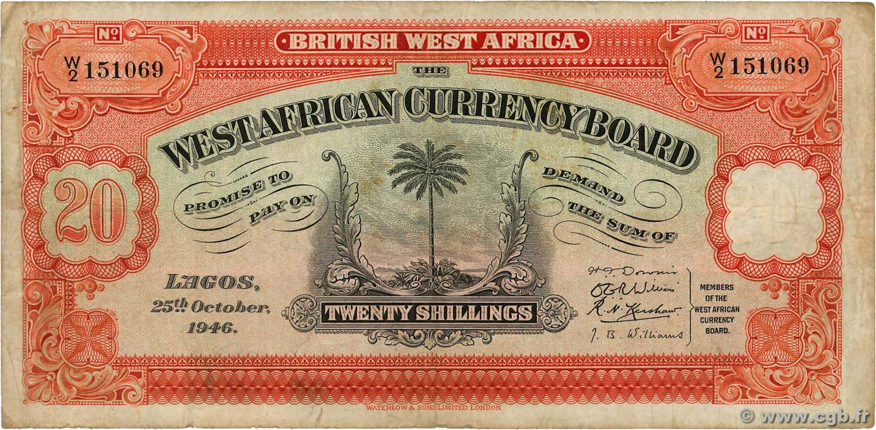 20 Shillings  AFRIQUE OCCIDENTALE BRITANNIQUE  1946 P.08b TB