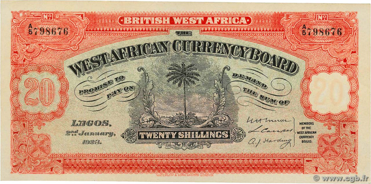 20 Shillings AFRIQUE OCCIDENTALE BRITANNIQUE  1928 P.08ax SPL