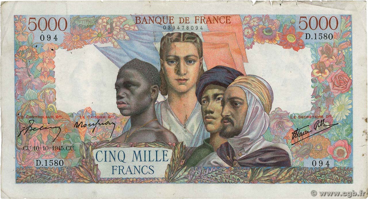 5000 Francs EMPIRE FRANÇAIS  FRANCE  1945 F.47.47 pr.TTB