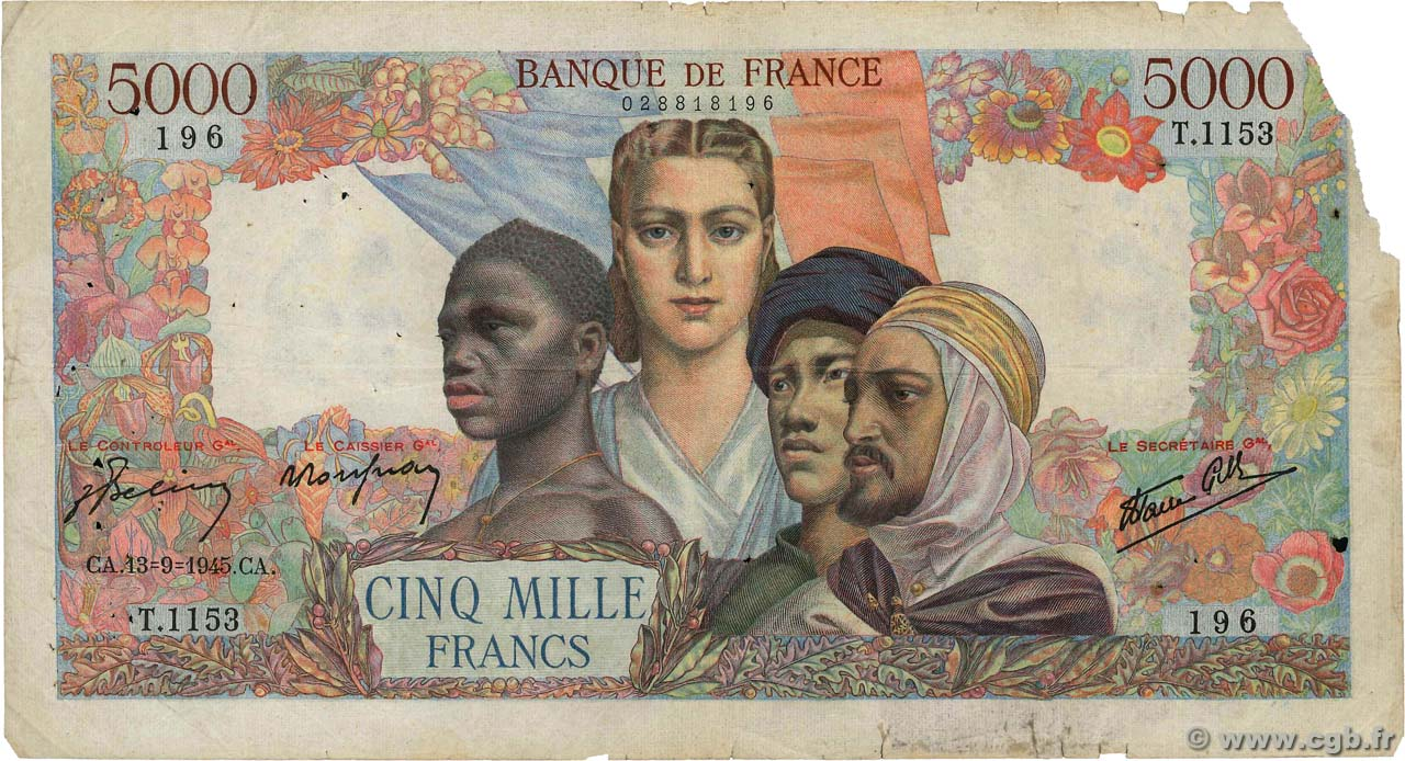 5000 Francs EMPIRE FRANÇAIS FRANCE  1945 F.47.43 B