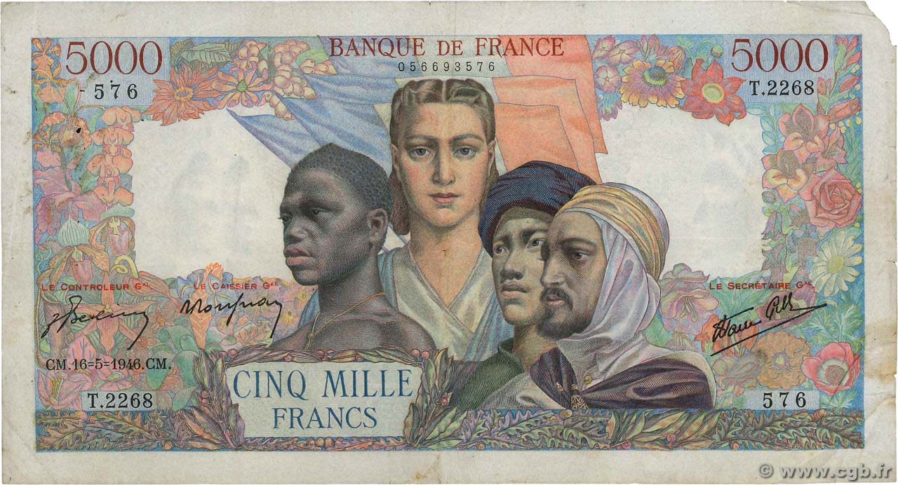 5000 Francs EMPIRE FRANÇAIS FRANCE  1946 F.47.53 TB