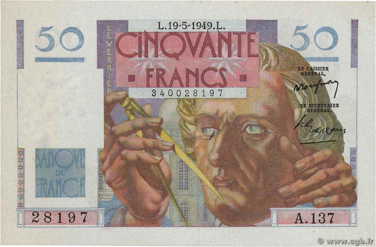 50 Francs LE VERRIER FRANCE  1949 F.20.12 SPL