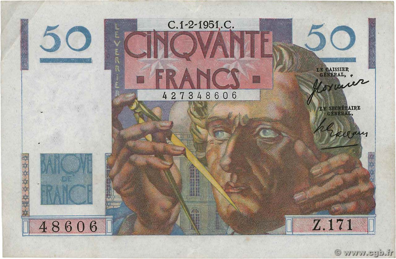 50 Francs LE VERRIER FRANCE  1951 F.20.17 pr.SUP