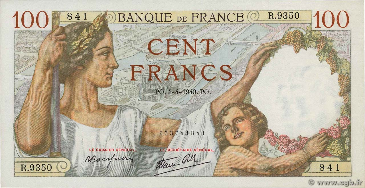 100 Francs SULLY FRANCE  1940 F.26.26 NEUF