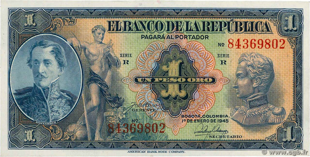 1 Peso Oro COLOMBIE  1942 P.380d SUP+
