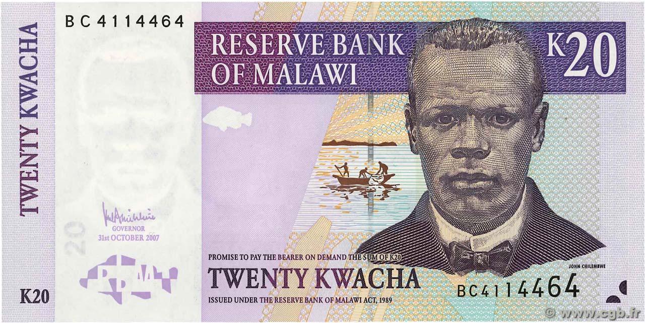 2007 UNC P-52d Malawi 20 Kwacha