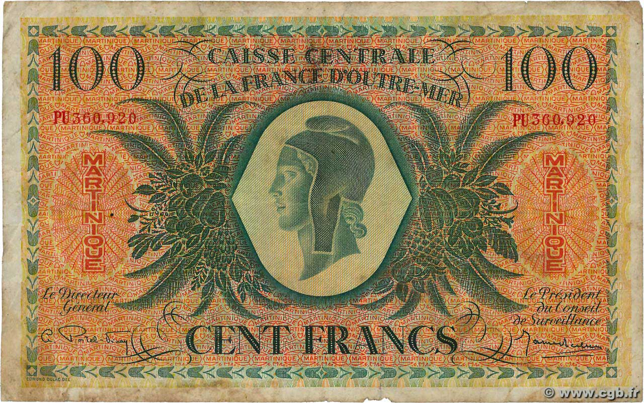 100 Francs MARTINIQUE  1946 P.25 pr.TB