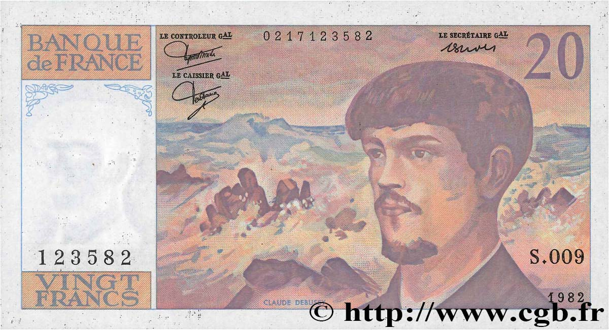 20 Francs DEBUSSY  FRANCE  1982 F.66.03 SUP