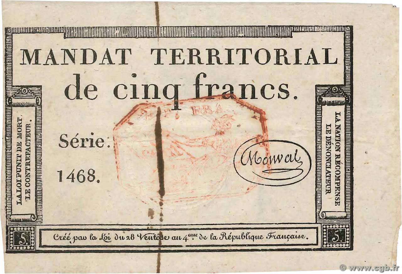 5 Francs Monval cachet rouge  FRANCE  1796 Ass.63c pr.SPL