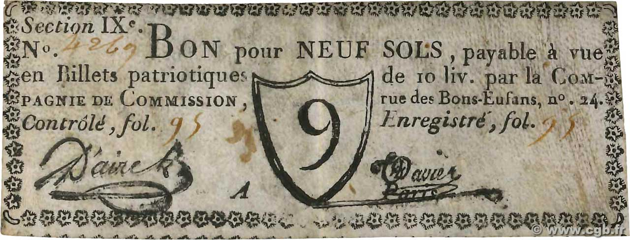 9 Sols  FRANCE régionalisme et divers Paris 1791 Kc.75.076 TTB