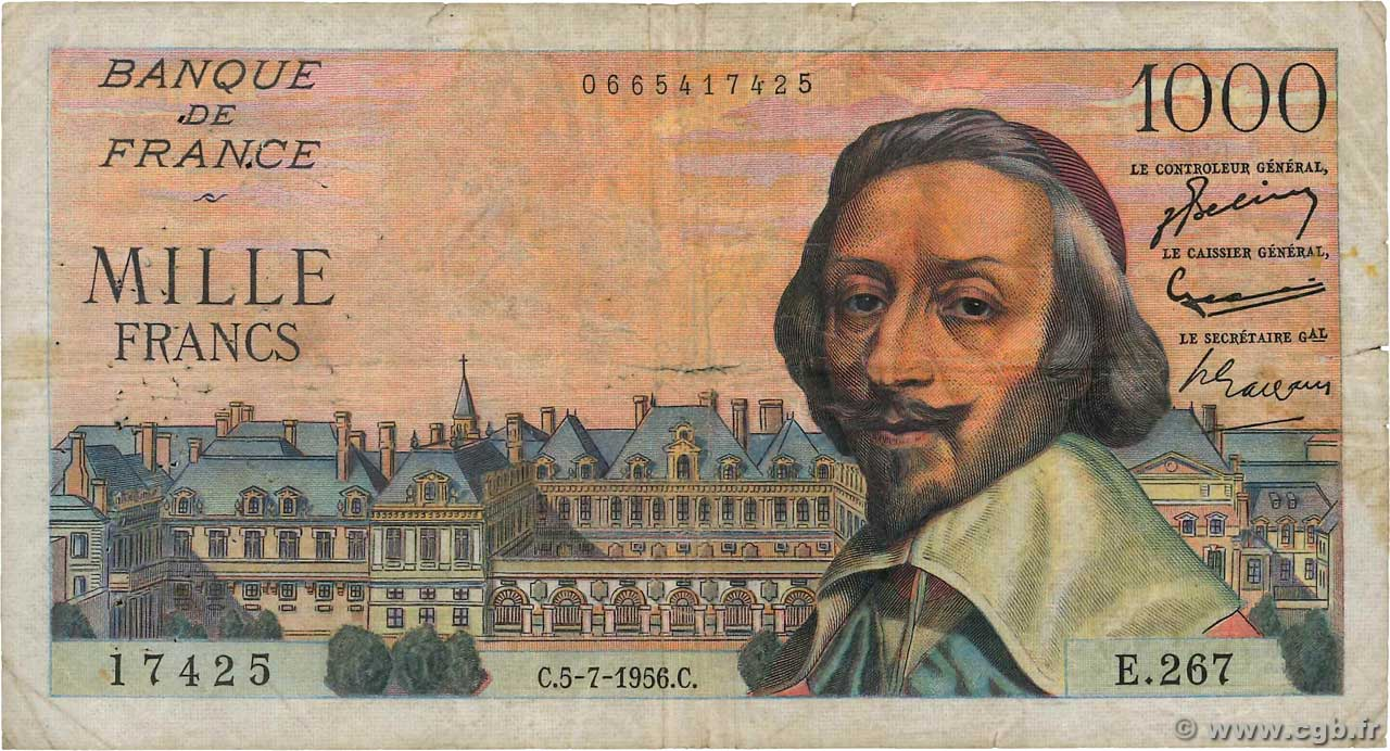 1000 Francs RICHELIEU  FRANCE  1956 F.42.21 B