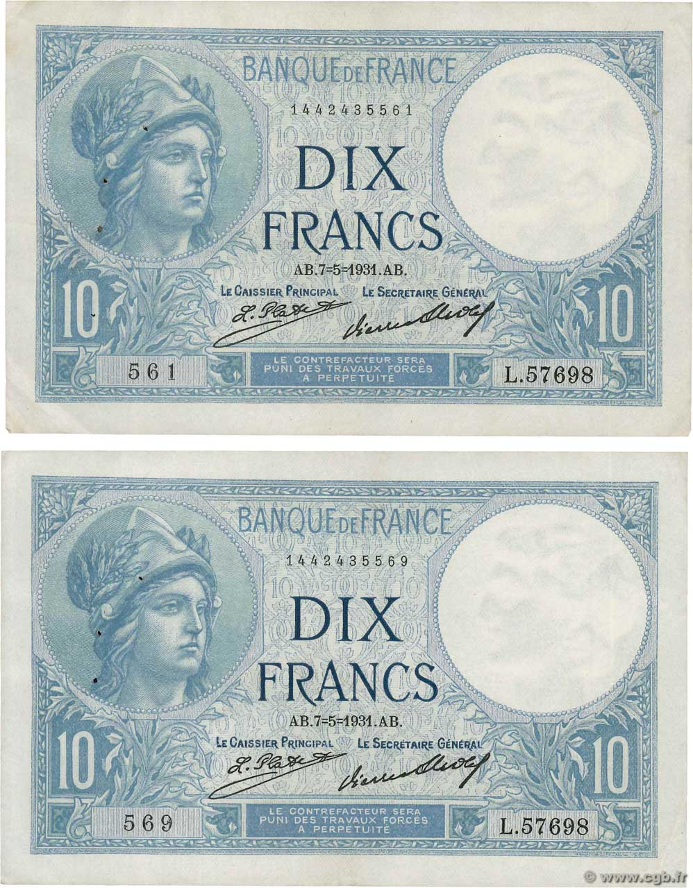 10 Francs MINERVE Lot FRANCE  1931 F.06.15 TTB+